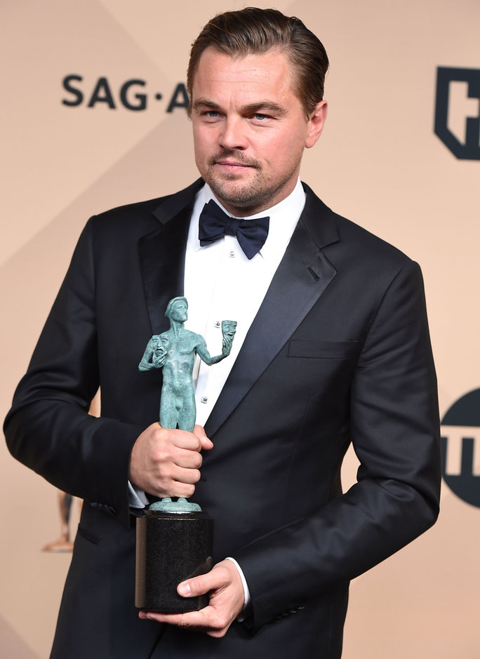 LOS ANGELES, CA - JANUARY 30:  Leonardo DiCaprio poses at the 22nd Annual Screen Actors Guild Awards at The Shrine Auditorium on January 30, 2016 in Los Angeles, California.  (Photo by Steve Granitz/WireImage)